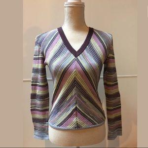 Missoni Striped V Neck Knit Pullover Sweater 6
